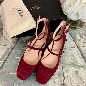 J. Crew Burgundy Suede Sally Ballet with Straps
